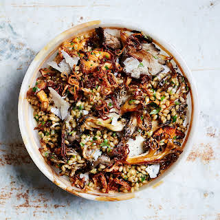 Herby Barley Salad with Butter-Basted Mushrooms.