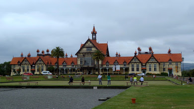 Photo: In the late afternoon, we arrived in Rotorua and saw their museum. The Maori are believed to be descentants of Polynesians who arrived on the North Island about 800-1000 years ago.