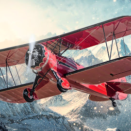 Steep Winter Climb by Project MKP Photography - Transportation Airplanes ( aviation, mountains, hdr, biplane, airplane, waco, markkuhns, projectmkp, photography )
