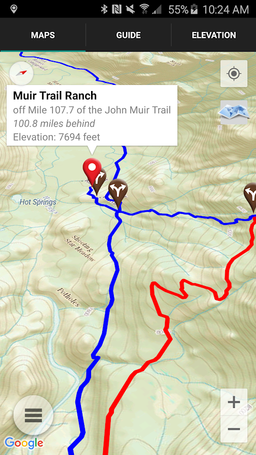 Guthook's JMT Guide- screenshot