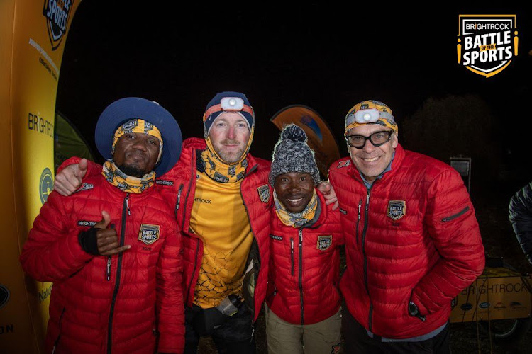 Teko Modise, Matthew Booth, Siyabonga Nomvethe and Erik Vermeulen after completing the Battle of the Sports endurance challenge.