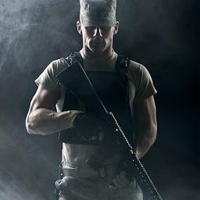 Soldier by Braxton Wilhelmsen - Professional People Military ( studio lighting, m16, soldier, retouching, muscle, advertising, modern warfare, smoke, photography, photoshop, military, braxton wilhelmsen )