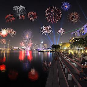 Fireworks by Kafoor Sammil - Landscapes Starscapes