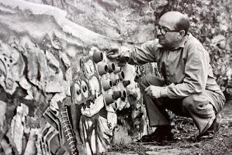 """Photo: Antonio Berni trabajando en el ensamblaje de """"La pampa tormentosa"""", 1963. Expo: Antonio Berni. Juanito y Ramona (MALBA 2014-2015)"""