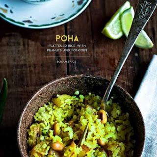 Poha ~ Flattened Rice with Potato and Peanuts.
