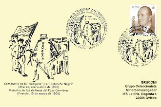 Photo: Matasellos del Centenario de la Huelgona y el Gabinete Negro. Grucomi en Mieres, 2006