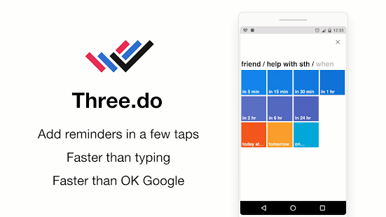 Three.do: the quickest ToDo, reminder, tasks app Screenshot