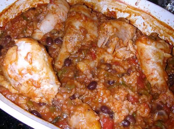 Chicken Legs In Spanish Rice Dish