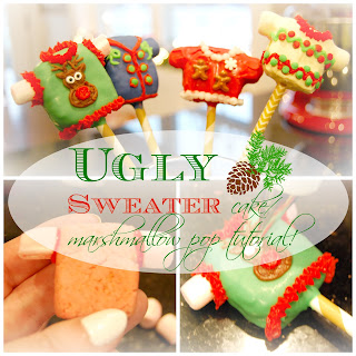 Ugly Sweater cake/marshmallow pops!