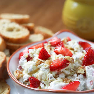 Strawberry Basil Goat Cheese Spread with Walnuts.