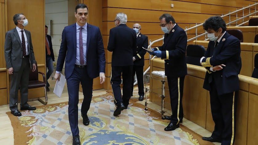 El presidente del Gobierno, Pedro Sánchez, este martes a su llegada a la sesión de control al Gobierno en el Senado.