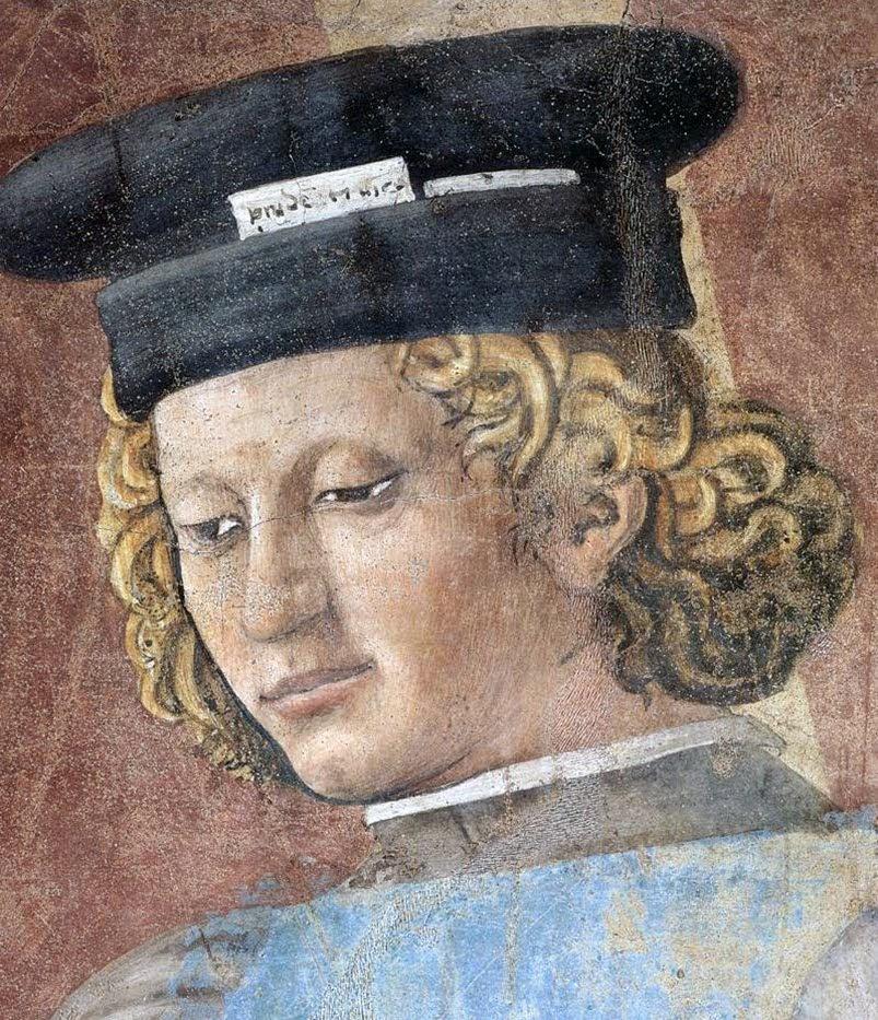 Piero della Francesca, Le Storie della Vera Croce, Tortura dell'ebreo (particolare, testa del funzionario), Basilica di San Francesco, Arezzo