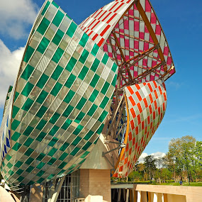 Fondation Louis Vuitton in Paris by Alex Cassels - Buildings & Architecture Other Exteriors ( building, structure, daniel buren, gallery, travel, architecture, colours, fondation louis vuitton, architect, landmark, paris, jardin, frank gehry, d'acclimatation, contemporary art, france, alex cassels )