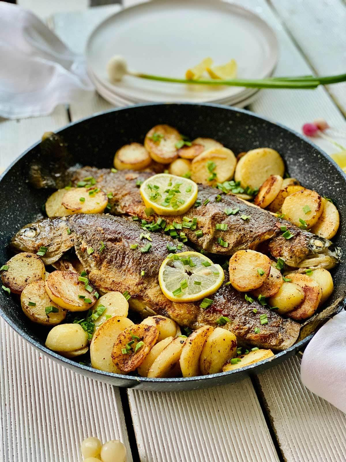 Rainbow Trout With Potatoes And Spring Garlic
