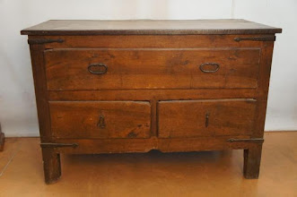 Photo: Code 3472. Large rustic fruitwood, chest of drawers. One large on top, two small below. Iron straps to corners, 105cm high x 155cm wide x 67cm deep. 19th century.  SOLD
