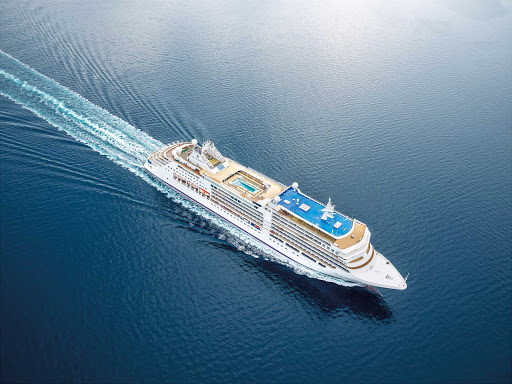 An aerial of the 596-passenger luxury ship Silver Moon.