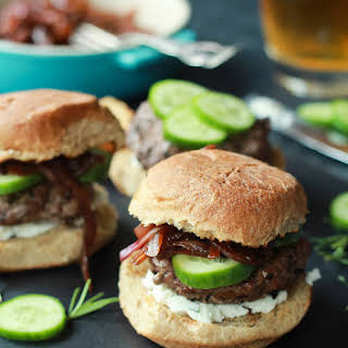 Grilled Lamb Burgers with Whipped Feta and Cucumbers.