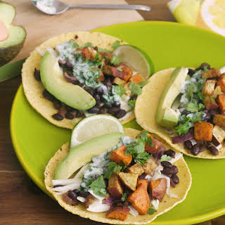 Spicy Sweet Potato and Black Bean Tacos With Lime-Cilantro Yogurt.