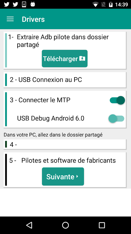 installer les pilotes USB Android 7 64/32 bits