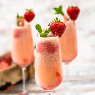 Strawberries and Cream Sorbet Mimosas.