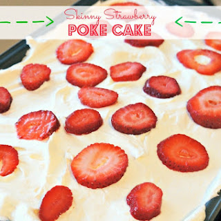 Skinny Strawberry Poke Cake
