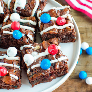 Patriotic Marshmallow Crunch Brownies.