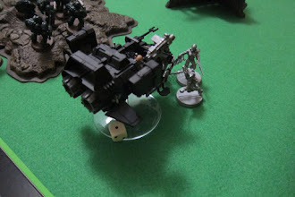 Photo: Turn 2 - end of Dark Eldar turn - The Wyches at the end of the board successfully moved, ran and then assaulted the Land Speeder with Haywire Grenades, but only caused 1 point of hull damage! What a terrible roll!