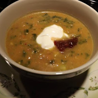 Sweet Potato Soup with Creamed Spinach.