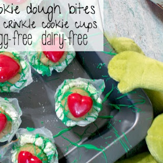 Grinch Cookie Dough Bites in Crinkle Cookie Cups