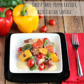 Lightning-Fast Cheesy Three-Pepper Ravioli with Italian Sausage