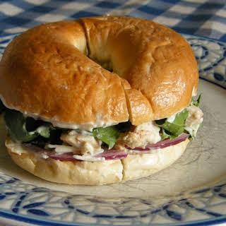 Chicken Caesar Salad Bagel Sandwich.