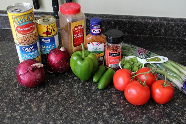 Here are assembled ingredients...notice I had a few substitutions today.