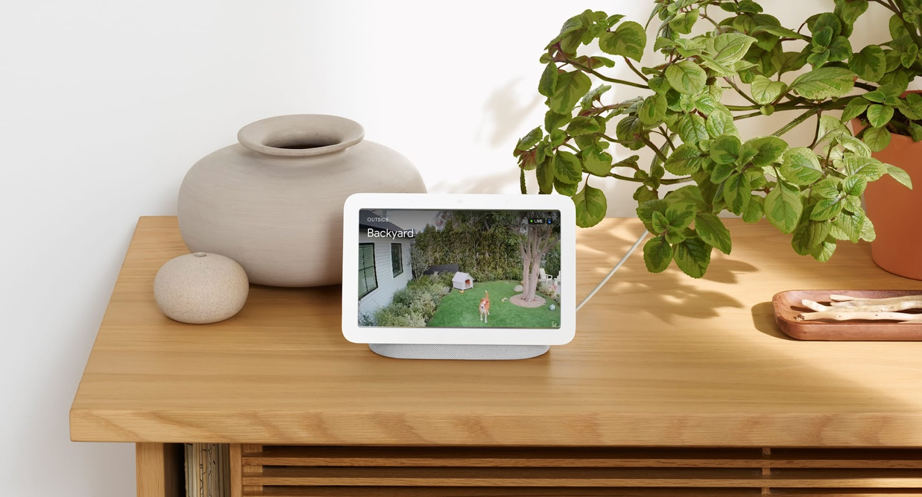 A Nest Hub on a table with plants and pottery.