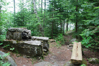 Photo: A rustic stone place for a campfire at Ricker Pond by Linda Carlsen-Sperry.
