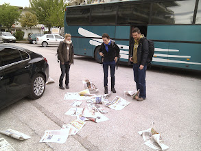 Photo: we are met by newspaper storm when we arrive to Meteora mountains in Greece