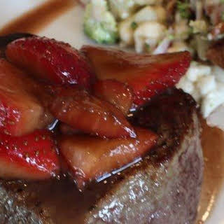 Filet Mignon and Salsamic Strawberries.