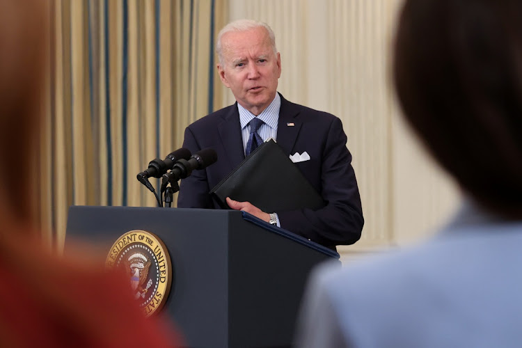 US President Joe Biden delivers remarks on the state of the coronavirus disease (Covid-19) vaccinations from the State Dining Room at the White House in Washington, DC, US, May 4, 2021.