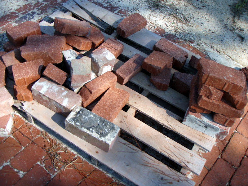 Photo: A brickpile on one of the in-progress stretches of restoration.