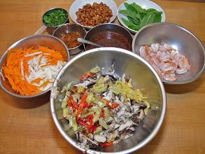 Photo: prepared ingredients for the mushroom and jicama salad