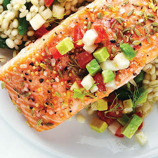 Fennel, Mustard & Lemon-Crusted Salmon with Avocado Salsa