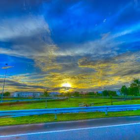 Sunset on Highway by Mohd Nazeerul - Landscapes Sunsets & Sunrises ( hdr, sunset, brunei )