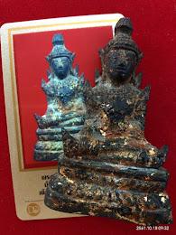 พระพุทธรูปสมัยรัตนโกสินทร์ (หน้าตัก 1.5 นิ้้ว) เนื้อทองผสมลงรักปิดทอง สภาพสวยสมบูรณ์ อายุราว 100กว่าปี  พร้อมบัตรดีดีพระ