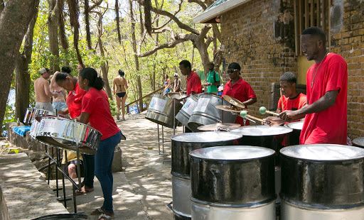 steel-band.jpg - A steel band performs during a Windstar beach barbecue in St. Lucia.