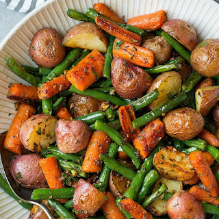 Garlic Herb Roasted Potatoes Carrots and Green Beans.