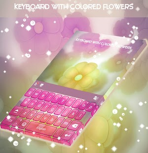 Keyboard with Colored Flowers - náhled