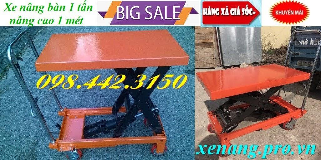 Xe nâng bàn 1 tấn cao 1 mét