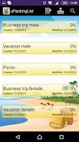 Screenshot of uPackingList