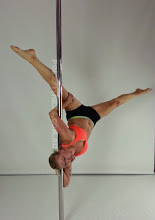 Photo: Aleksandra Deren - Backward Forearm Press and Corner Elbow Hold with Straddle leg Line - Vertical Pole Gymnastics at Pole Fitness Studios Sydney Australia