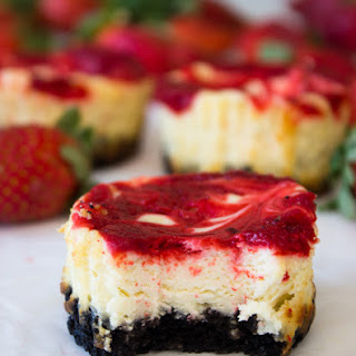 Mini Strawberry Swirl Cheesecake