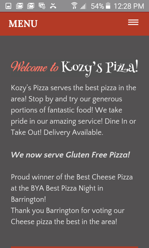 Kozy's Pizza- screenshot